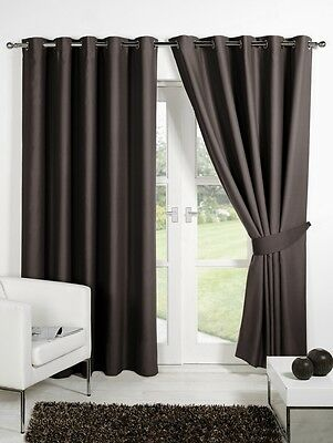 Chocolate Brown Supersoft BLACKOUT Thermal Curtains Ring Top Eyelet  + Tiebacks