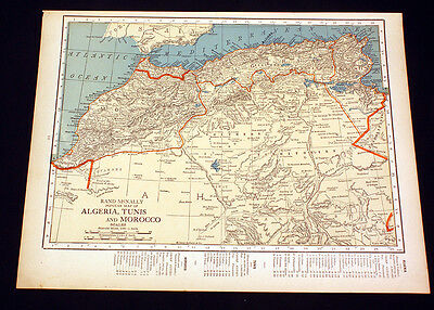 Antique Map Algeria Tunis Morocco or Union of South Africa 1922