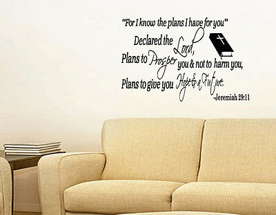 Jeremiah 29:11 For I know the plans Wall Art Decal Bible Verse Quote Vinyl