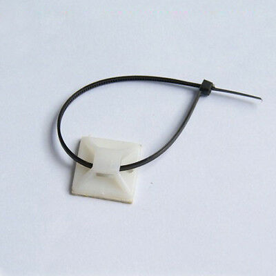 100 Pcs Electrical Wire Cable Self Adhesive Square Cable Tie Mount Base