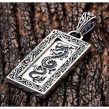 Japanese Dragon 925 Sterling Silver Mens Pendant New Gothic Biker Chain Necklace