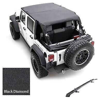 2007-2017 Jeep Wrangler Unlimited Safari Extended Bikini Top & Channel Kit Black
