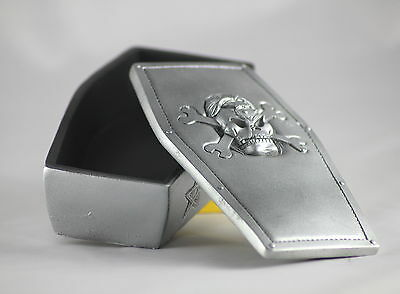 SILVER PIRATE SKULL COFFIN BOX, Weird KEY & TRINKET Box for Gothic Lovers
