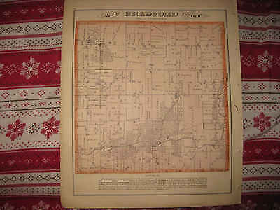 Antique 1873 Bradford Township Rock County Wisconsin Handcolored Map Nr