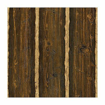 Log Cabin Lodge Textured Vinyl Wallpaper