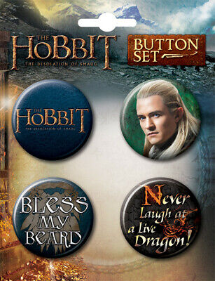 The Hobbit: Desolation of Smaug Movie Round Button Carded Set of 4, NEW UNUSED