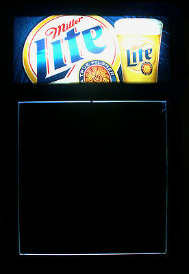"2001 Miller Lite Brand Beer Advertising 31.5""t Elec. Illuminated Chalkboard Sign"