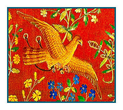 Medieval Lady & Unicorn Bird Detail Taste Tapestry Counted Cross Stitch Pattern