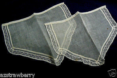 VTG Antique Victorian Delicate Cotton Sheer Crochet Lace Pair of Sleeve Cuffs