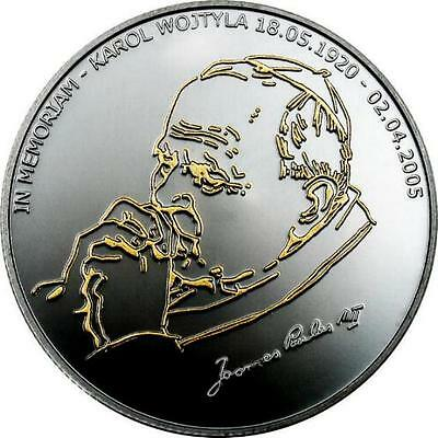 Liberia 2005 Pope 10 Dollars Black Silver Coin,Proof