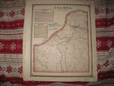 Superb Antique 1875 Colona Township Henry County Illinois Handcolored Map Nr