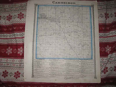 Antique 1875 Cambridge Burns Township Henry County Illinois Handcolored Map Nr