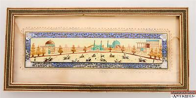 Persian Hand-Painted Suratgari Bone Marquetry Khatam Frame Watercolor Polo Scene