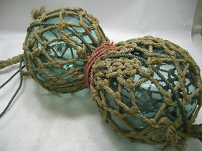 """Vintage Glass Fishing Floats TWO x 9.5"""" Net Japanese #998"""