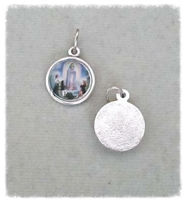 Lot 2 Our Lady of Fatima Charm Holy Medal for Rosary Bracelet finish SILVER A104