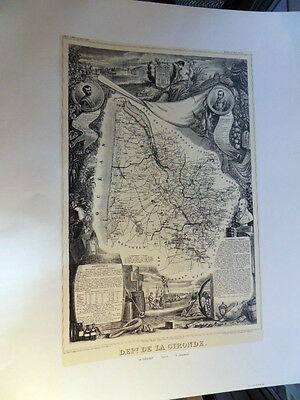 Levasseur  La Gironde France Map Lithographed from the Original Antique Map