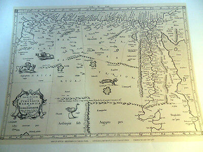 17th Century Map of North Africa Lithographed from the Original Antique Map