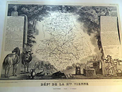 Levasseur  Map of Haute Vienne France Lithographed from the Original Antique Map