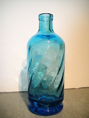 Rare Antique French Half Siphon Seltzer Bottle Blue Twisted Glass