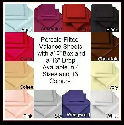 "Percale 200TC , 26"" EXTRA DEEP FITTED VALANCE SHEETS, Pleated Box Pleat"