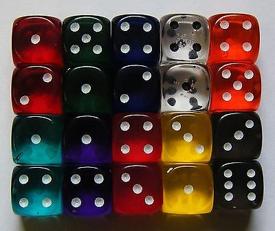 20 Six Sided Gem Spot Dice Translucent 12MM RPG D6 NEW