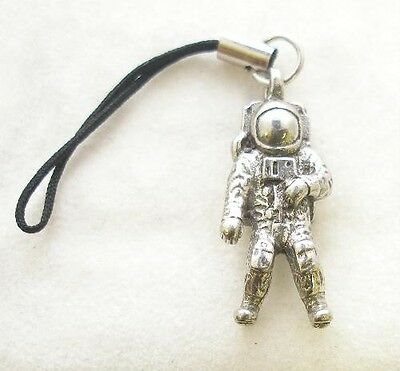 Space Astronaut Bag Phone Charm in Fine English Pewter, Handmade, gravity (wa)