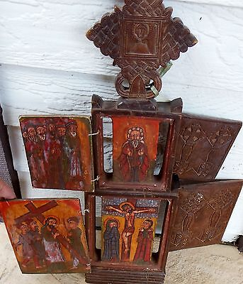 23 in high 4-door carved wood Icon Gondar Ethiopian traditional images