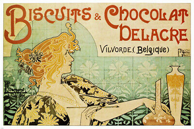 VINTAGE 1900'S FRENCH ADVERTISEMENT POSTER biscuit & chocolat delacre 24x36-SW0