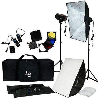 Photo Studio Complete Kit w/ Photography Lighting Flash Strobe Stand Carry Case