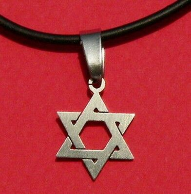 Magen/Star of David Silver Tone Pendant &Black Necklace,Stainless,fits Men&Women