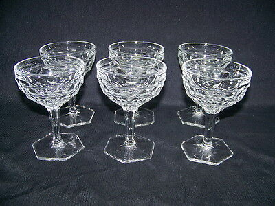 6 FOSTORIA AMERICAN CLEAR CHAMPAGNE or WINE OR TALL SHERBERT HEXAGON GLASSES