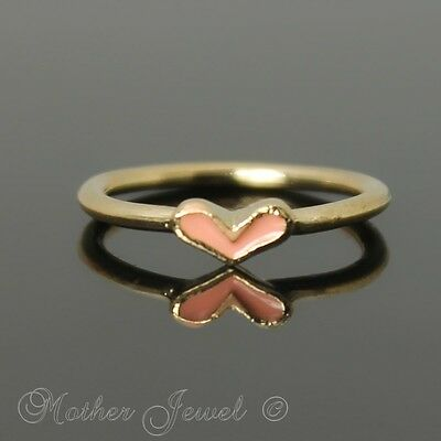 Adorable Apricot Mini Love Heart Yellow Gold Plated Costume Ring Size 5 J Small