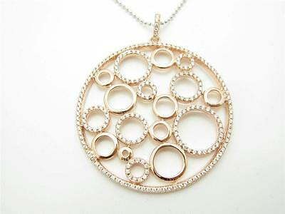18K Rose Gold Sterling Silver Diamond Set White Sapphire Circle Bubble Necklace