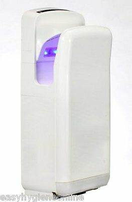 BLADE JET Hands Down Electric Hand Dryer Drip Tray Eco Warm Air WHITE quiet 70dB
