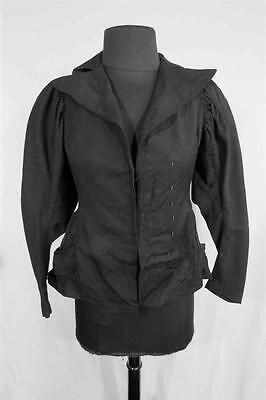 Very Rare Antique French Victorian Black Cotton Jacket  Size Extra Small