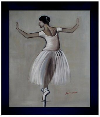 Contemporary Framed Ballerina Dancing in Gray, Hand Painted Oil Painting 20x24in