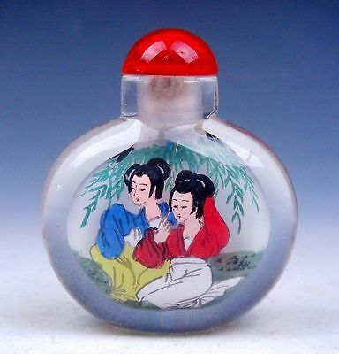 Peking Glass Inside *Lady Traditional Dress* Hand Painted Snuff Bottle #03301402
