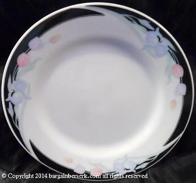 CARAVEL BY EXCEL FLORAL BLACK BORDER BREAD & BUTTER PLATE RTL $5.99 SPC284
