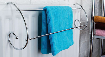 Classic Chrome Twin Radiator Indoor Clothes Airer Dryer Towel Rail Rack Stand