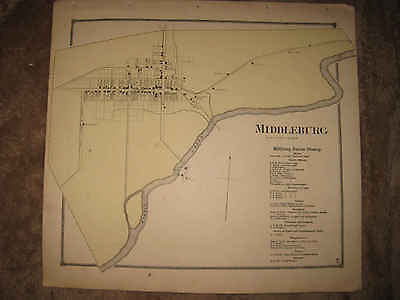 Antique 1868 Middleburg Snyder County Pennsylvania Handcolored Map Superb Nr