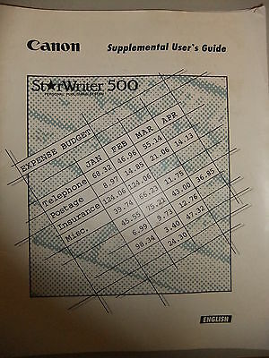 Instructions TYPEWRITER CANON STARWRITER 500  Supplemental users guide CD/email