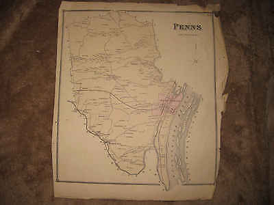 Antique 1868 Penn Township Selinsgrove Snyder County Pennsylvania Handclr Map Nr
