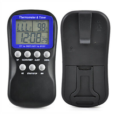 Digital Food Oven Thermometer Timer Probe  - By TRIXES