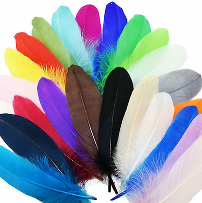 "Large Goose Quill Feathers x 4. Bright Shades, Crafts, Costumes etc, 6"" to 7"""
