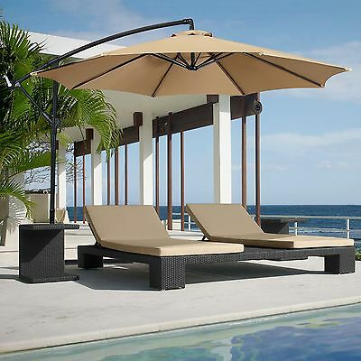Patio Umbrella Offset 10' Hanging Umbrella Outdoor Market Umbrella New