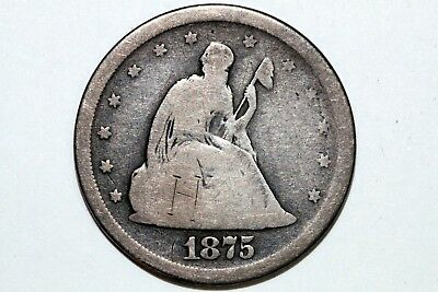 About Good 1875-S Liberty Seated Twenty Cent Silver Piece 20C (TW115)