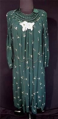 RARE VINTAGE 1920'S ORNATE FRENCH GREEN FLORAL SILK & RAYON DRESS SIZE 16-18
