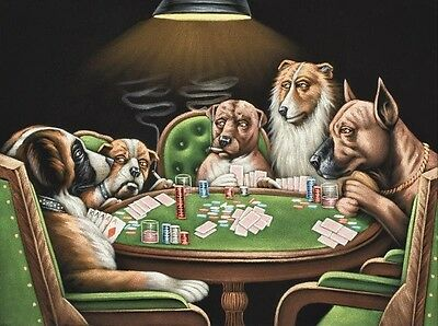 """Art Print Dogs Playing Poker Oil painting Picture Printed on canvas 16""""X20"""" P060"""