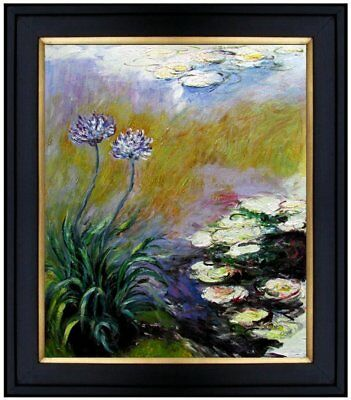 Framed, Claude Monet Agapanthus Repro, Hand Painted Oil Painting, 20x24in