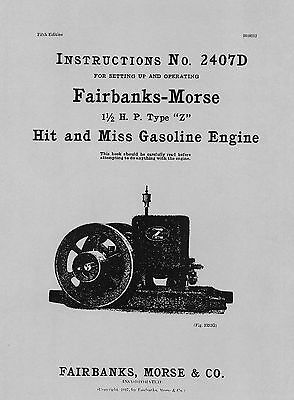 Fairbanks Morse 1½ HP Type Z Instructions No. 2407D